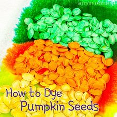 How to dye pumpkin seeds Pumpkin Seed Activities, Pumpkin Seed Crafts, Autumn Activities For Kids, Toddler Activities, Easy Fall Crafts, Crafts For Kids To Make, Rainbow Rice, Pumpkin Template, Bobbing For Apples