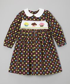 This Brown Polka Dot Cupcake Collar Smocked Dress - Girls by Marmellata is perfect! #zulilyfinds