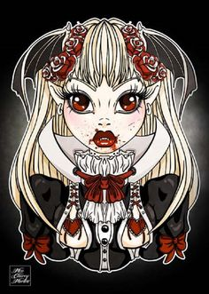 My Little Vampire by Miss Cherry Martini Gothic Girl Canvas Art Print