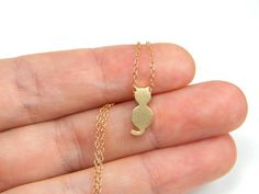 PUUUURFECT FOR A BIRTHDAY PRESENT :)  Cat necklace gold necklace kitty necklace cat jewelry by Omoroka, $23.00