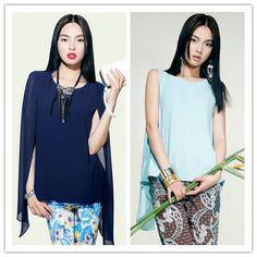 Camisas Femininas Spring Summer Loose Chiffon Shirt O-Neck Sleeveless Blouse Woman Green Blue XL Tops W025 Camisas Femininas
