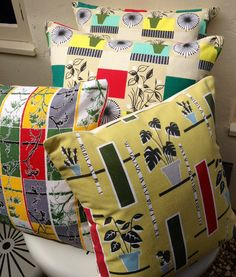Vintage 1950s Cushions inc. Tom Mellors 'Flowerpots' for David Whitehead.