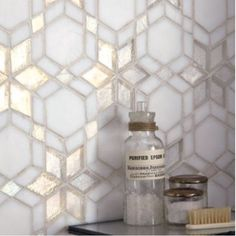 Iridescent Glass Mosaic - Wall & Floor Tiles - for a more ethereal bathroom Wall And Floor Tiles, Wall Tiles, Mosaic Wall, Mosaic Glass, Downstairs Toilet, Reno, Kitchen Tiles, Interior Design Services, Beautiful Bathrooms