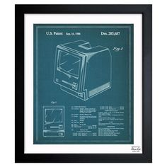 Perfect hanging in your home office or study, this patent drawing-inspired canvas print features a vintage computer motif.   Product...