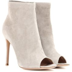 Gianvito Rossi Open-Toe Suede Ankle Boots ($790) ❤ liked on Polyvore featuring shoes, boots, ankle booties, heels, ankle boots, booties, grey, gray ankle boots, grey ankle boots and open toe booties