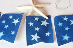 Make Star bunting with a solar print kit.