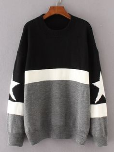 Star Detail Color Block Sweater -SheIn(Sheinside)
