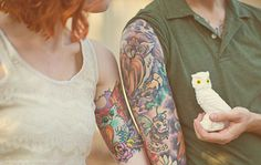 Love these his and her owl tattoos!