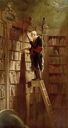"""The Bookworm"", 1850, by Carl Spitzweg by John McNab. My parents had a framed one in our library! Sigh..."
