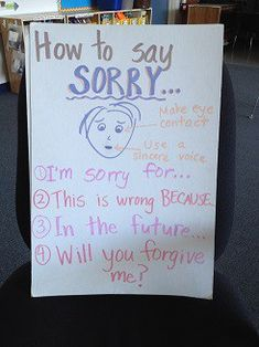 Teach Your Kids A Better Way to Say Sorry...You Won't Be Sorry!, poster on how to say you are sorry, apologize
