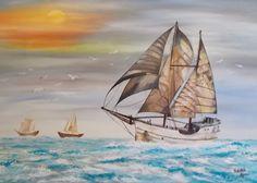 Szántó Ágnes Nem messze már a kikötő Olaj Sailing Ships, Marvel, Sailboat, Tall Ships
