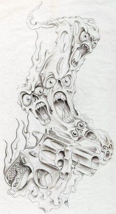 smokin gun by markfellows on DeviantArt Evil Skull Tattoo, Evil Tattoos, Demon Tattoo, Skull Tattoos, Body Art Tattoos, Flame Tattoos, Tattoo Design Drawings, Skull Tattoo Design, Tattoo Sleeve Designs