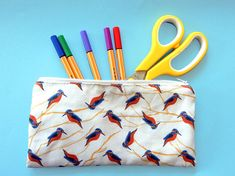 Your place to buy and sell all things handmade Pencil Cases, Kingfisher, Bird Prints, Pouches, Printing On Fabric, Vibrant Colors, Unique Gifts, How To Draw Hands, Purse
