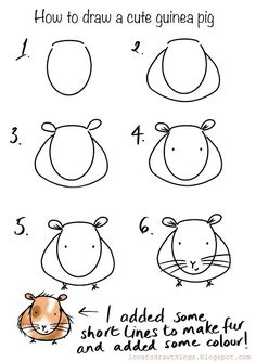 How to draw things with simple shapes and easy steps. Easy Doodles Drawings, Easy Doodle Art, Easy Drawings For Kids, Simple Doodles, Art Drawings Sketches, Drawing For Kids, Animal Drawings, Cute Drawings, Art For Kids