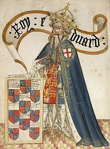 Medieval drawing of Edward III with the Order of the Garter.  1312-1377  - son of Edward II and Isabella of France - his mother & her lover, Roger Mortimer, Earl of March forced his father to renounce the throne in his favour when he was 14 - he married Phillippa of Hainault - they had 13 children - his grandson, Richard, became heir on the death of his eldest son, Edward, the Black Prince, Prince of Wales.