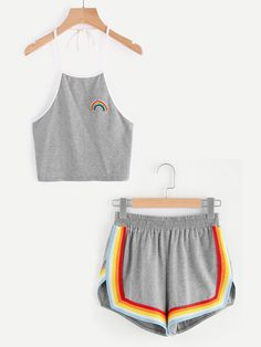 Rainbow Patch Halter Top And Colorful Trimming Shorts Set Mobile Site