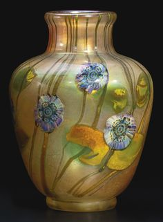 """Tiffany Studios """"ANEMONE"""" PAPERWEIGHT VASE engraved 5644N L.C. Tiffany-Inc. Favrile favrile glass 6 3/4 in. high circa 1926"""