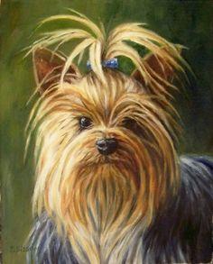 A Yorkies's Gaze Oil Painting Dog Pet Art Portrait Yorkshire Terrier, original painting by artist Debra Sisson   DailyPainters.com