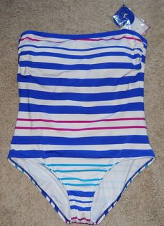 31a077dce4 Women Liz Claiborne 1 Pc Swimwear Bathing Suit Blue Pink Stripe 14 reg  86  New