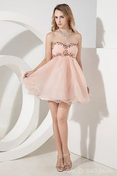 Romantic Sweetheart Sleeveless A-line Short/mini Pink Organza Zipper Ruched/Beading/Sequins Natural Cocktail Dress