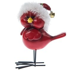 Cardinal in Striped Santa Hat Figurine   Christmas   Traditional Collection - Cracker Barrel Old Country Store