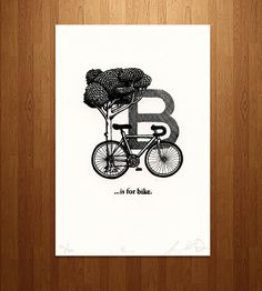 B is for Bicycle Letterpress Print