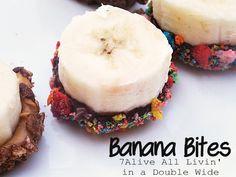 Breakfast Banana Bites made with Fruity Pebbles!