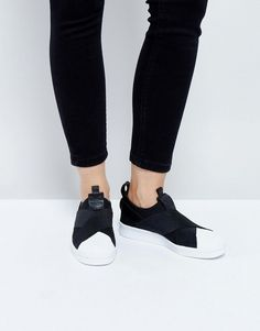Browse online for the newest adidas Originals Black Slip On Superstar Sneakers styles. Shop easier with ASOS' multiple payments and return options (Ts&Cs apply). Adidas Mode, Adidas Cap, Adidas High Tops, Black Adidas, Black Slip On Sneakers, Black Leather Sneakers, Best Sneakers, Adidas Sneakers, Shoes Sneakers