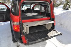 We offer removable camper van conversion kits that transform your minivan, Westfalia and SUV into a campervan. Van Conversion Kits, Camper Van Conversion Diy, Car Camper, Mini Camper, Honda Element Accessories, Tiny Mobile House, Mobile Homes, Honda Element Camping, Tiny Trailers