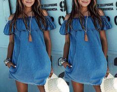 Vintage Fashion Women Shoulder Off Jeans Ruffles T shirt Casual Denim Mini Dress   eBay