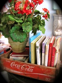 """Love my beat up 'ol Coke crate... I found two of these in our old barn. Filled one with pomgranets. Looks so nostolgic on my handmade bench covered with a burlap """"gunny sack"""". Just love it!!  MM"""