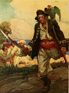 Long John Silver, en la portada de la Isla del tesoro ilustrada por Louis Rhead