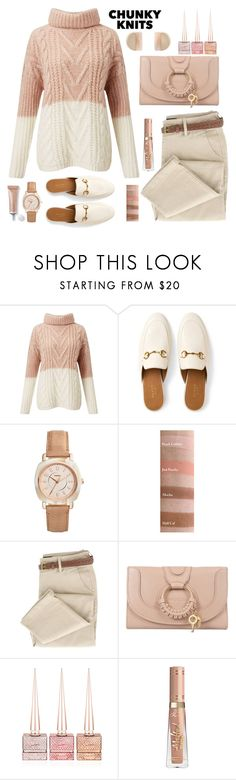 """""""Cozy Knits"""" by loveroses123 ❤ liked on Polyvore featuring Miss Selfridge, Gucci, FOSSIL, See by Chloé, Christian Louboutin and chunkyknits"""