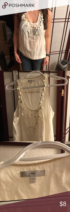 Gap tank Gap  tank with embellished neckline. Great for layering under blazers. Off white ivory color. No flaws. Semi sheer. GAP Tops Tank Tops