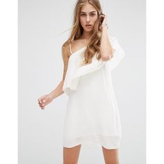 Mango One Shoulder Ruffle Cheesecloth Dress (110 BRL) ❤ liked on Polyvore featuring dresses, white, mango dresses, one shoulder ruffle dress, tall dresses, frilly dresses and white ruffle dress