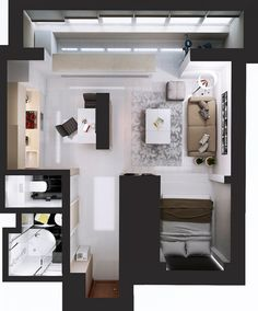 Ultimate Studio Design Inspiration: 12 Gorgeous Apartments Artists, young professionals, and just those people who want a simpler life are all good candidates for a studio apartments. These living spaces that have littl Studio Apartment Floor Plans, Studio Apartment Layout, Studio Layout, Studio Apartment Decorating, Studio Design, Small Apartment Layout, Small Apartment Plans, Small Closet Design, Small Room Design