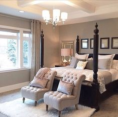 Exactly how I think a Master Bedroom should feel.... Timeless, Comfortable with a touch of Elegance.....