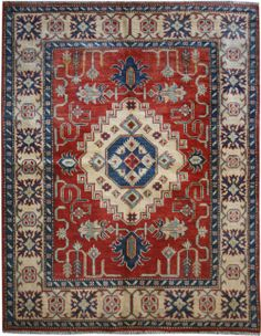 "Red/Rust Kazak Persian Rug 4' 10"" x 6' 3"" (ft) http://www.alrug.com/9550"