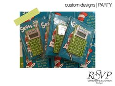 Custom Save the Dates we designed for a client's husband's 50th birthday party, these were so fun to create. We sewed the invites into a Dr. Seuss book and the booklet included information about the party and a mathematical pun the guests had to figure out (or not) that added up to 50-the reason for the party- a 50th birthday. We also included personalized calculators with the date on them so the guests could keep them and be reminded of when the party was stop by the blog…