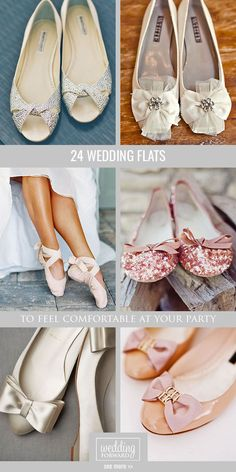 24 Wedding Flats For Comfortable Wedding Party ❤ Flats for brides is a wonderful and the most comfy alternative to the high-heeled shoe. There is some of a cute wedding flats variant. See more: http://www.weddingforward.com/wedding-flats/ #weddings #shoes