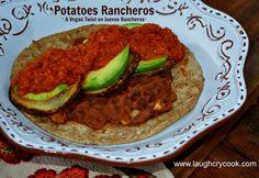 """Potatoes Rancheros - A vegan version of huevos rancheros using a an avocado and potato """"green egg."""""""
