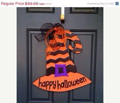 ON+SALE+Witch+Hat+Wooden+Door+Hanger+by+SweetSophieJacks+on+Etsy,+$30.00