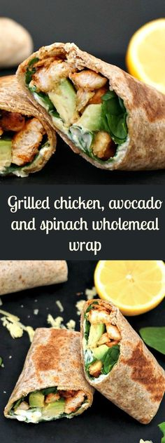 Grilled chicken, avocado and spinach wholemeal wrap, a healthy recipe when you are on the go or time is short for cooking complicated dishes. Grilled chicken, avocado and spinach wholemeal wrap, a healthy recipe. Think Food, Food For Thought, Chicken Avocado Wrap, Grilled Chicken Wraps, Chicken Avacado Sandwich, Chicken Salad, Avocado Chicken Recipes, Chicken Wrap Recipes, Shrimp Recipes