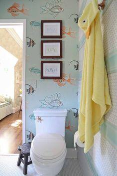 "Pasadena Showcase House of Design 2014: ""The Nursery Suite"" - Amy Peltier Interior Design & Home Bathroom Wallpaper Fish, Fish Wallpaper, Brick Wallpaper, New Wallpaper, Wallpaper Iphone Neon, Lock Screen Wallpaper Iphone, Trendy Wallpaper, Wood Bathroom, Diy Bathroom Decor"