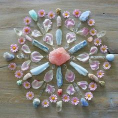 crystal mandala from Crystal Magic, Crystal Grid, Crystal Healing, Crystal Altar, Crystal Castle, Crystal Wall, Crystals And Gemstones, Stones And Crystals, Gemstones Meanings