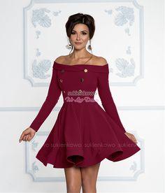 12873617bf Sukienkowo.com - VANESSA - Rozkloszowana żakietowa sukienka z guzikami  bordowa