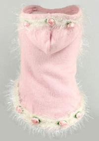 Hip Doggie - Soft Pink Rose Hoodie Sweater - Super soft pink brushed knit Sweater with cute fuzzy rose trim. Made in the USA.