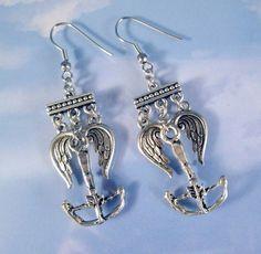 Daryl Dixon Walking Dead Crossbow Angel Wings Silver Earrings Zombie
