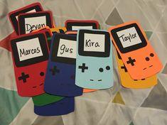 Made Game Boy door decs at Casas Door Name Tags, Ra Door Tags, Game Boy, Cubby Tags, Dorm Door Decorations, Dorm Room Doors, Door Decks, Resident Assistant, Res Life