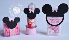 Lembrança Infantil Minnie - Kit com caixinha de acrílico, mini tubete e Tic-Tac personalizados com tag em scrapbook
